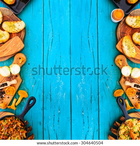 various dishes from the chanterelle, background - stock photo