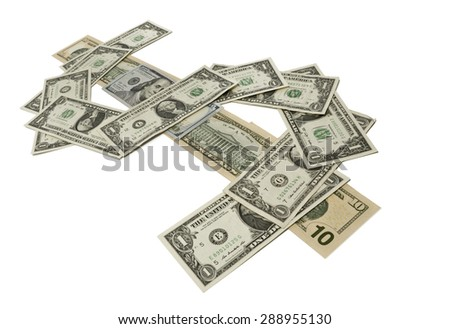 Various dollar bills aligned to shape the dollar symbol isolated on white - stock photo