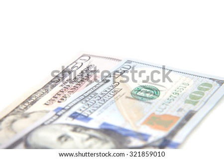 Various dollar notes. All on white background.