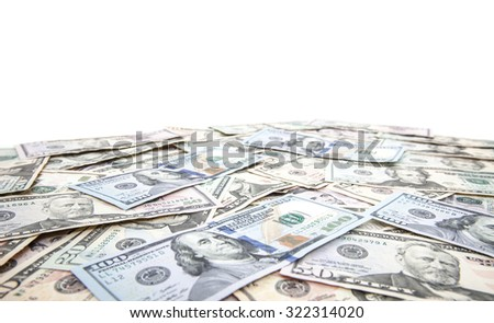 Various dollar notes on white background