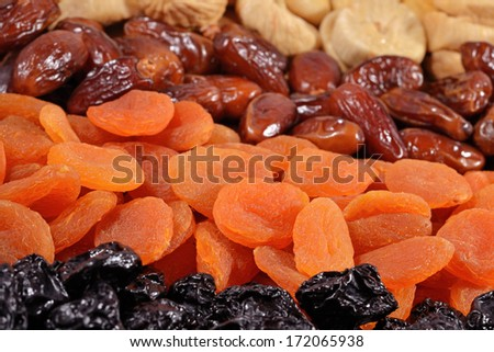 Various dried fruits close-up as  background