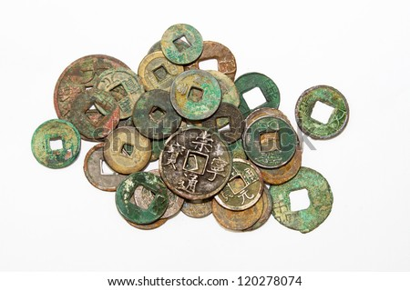 Various dynasties of ancient Chinese coins - stock photo