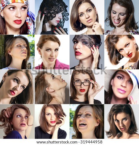Various emotions beautiful European women gathered in a collage - stock photo