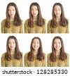 Various emotions in portrait collection of beautiful teenage girl - stock photo