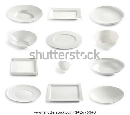 various empty white plates - stock photo