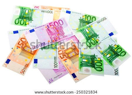 Various Euro Banknotes isolated on the white background - stock photo