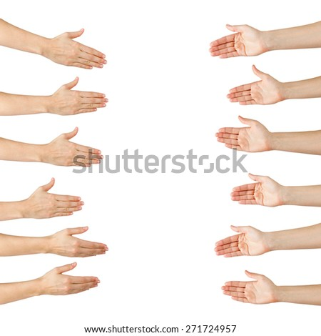 Various female hands offering handshake isolated on white background, copy space, clipping pass. Closeup picture of woman shaking hands.