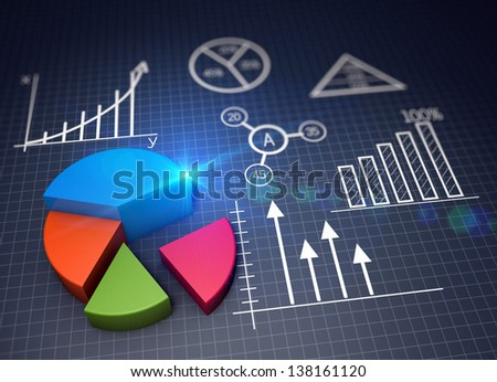 Various financial charts as a concept - stock photo
