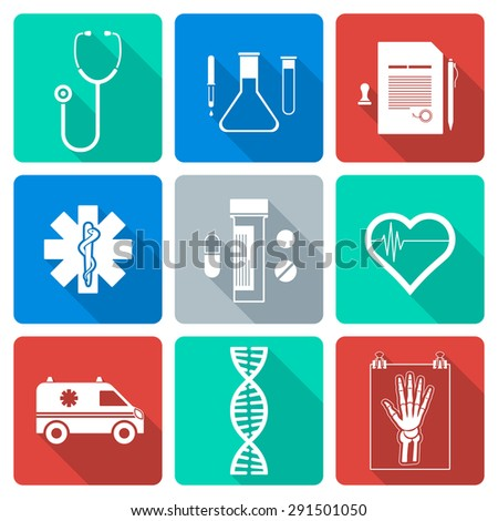 various flat design white silhouette medical icons with shadow - stock photo