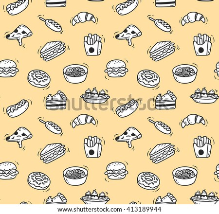 Various food doodle seamless background, restaurant background, various food in doodle style - stock photo