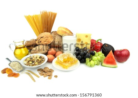 Various foods,  isolated on white background. - stock photo