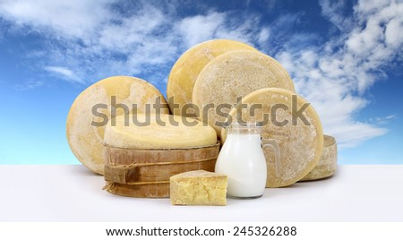 various forms of cheese with milk on the table and sky background - stock photo