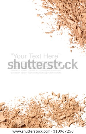 Various foundation powder makeup brushed with text on white background. Isolated - stock photo
