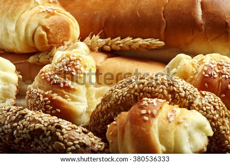 Various fresh bakery products