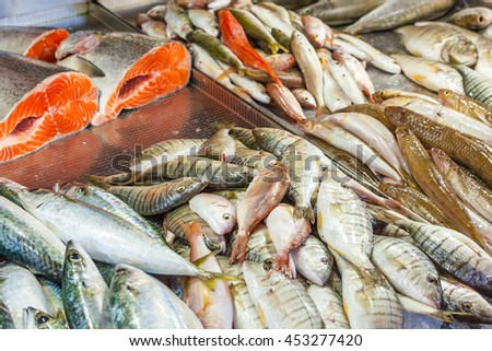 Various fresh fish and seafood at the fish market in Fethiye, Turkey - stock photo
