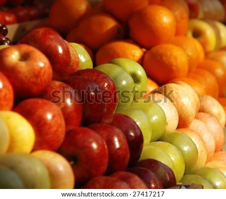 Various fresh fruits at the market - stock photo