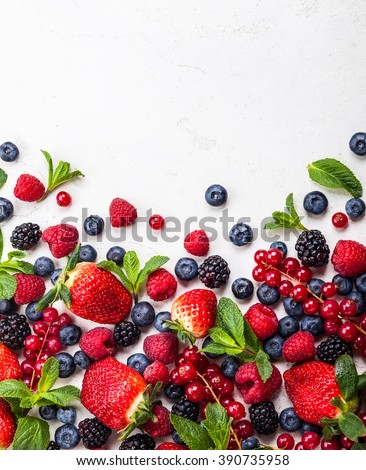 Various fresh summer berries. Top view
