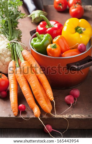 various fresh vegetable in casserole - stock photo