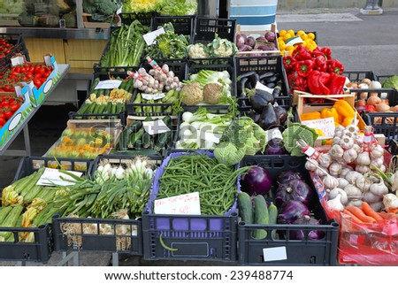 Various fresh vegetable produce at Farmers market - stock photo