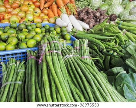 Various  fresh vegetables for sale in market