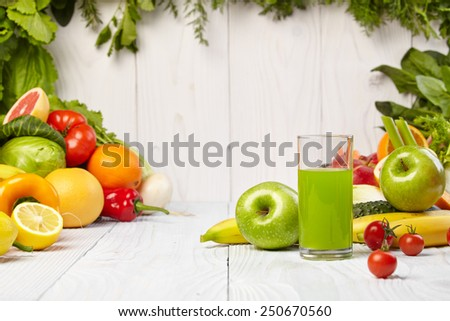 Various Freshly Vegetable Juices for Detox  - stock photo