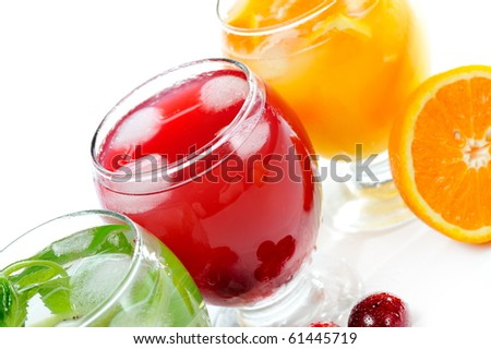 various fruit juice and tea - stock photo