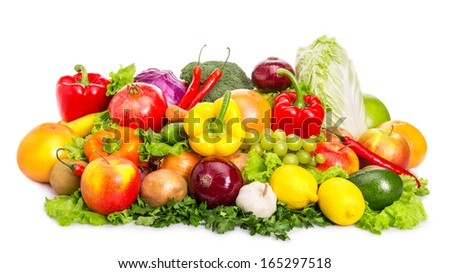 Various fruits and vegetables. Food set. Isolated over white background. - stock photo