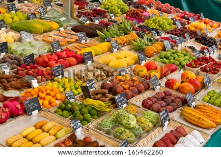 Various fruits on a market - stock photo
