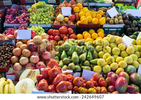 Various fruits on spanish market counter