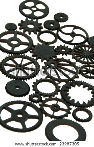 Various gears with interlinking teeth and cogs