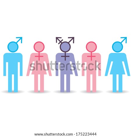 Various gender identities, set of different icons. Raster version - stock photo