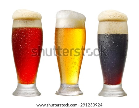 various glasses of beer isolated on white background - stock photo