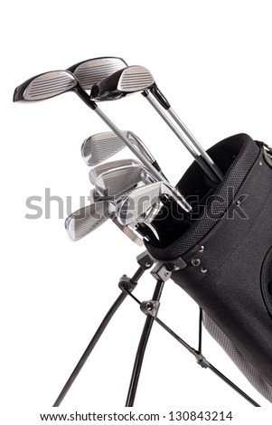 various golf clubs in carrier bag isolated on white background