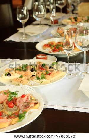 Various Greek appetizers on the table