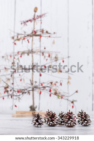 various handmade christmas trees from natural materials
