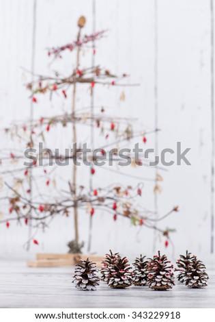 various handmade christmas trees from natural materials - stock photo