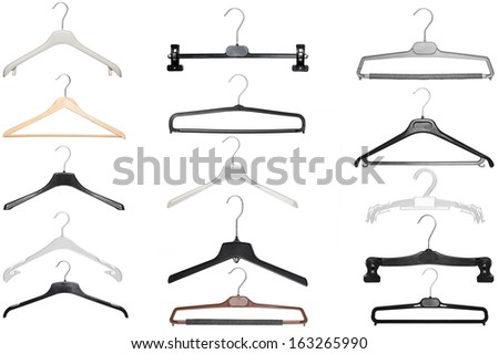 various hangers for shirt,coat and pants isolated on white background - stock photo