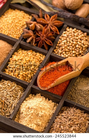 Various herbs and powder spices in box with shovel closeup - stock photo