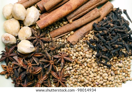 Various herbs and spices used in spa treatment. - stock photo