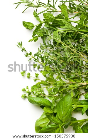 various herbs on white background - stock photo