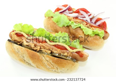 various Hot Dog's in front of white background