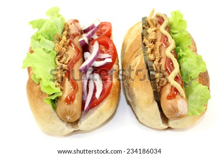 various Hot Dog's in front of white background - stock photo