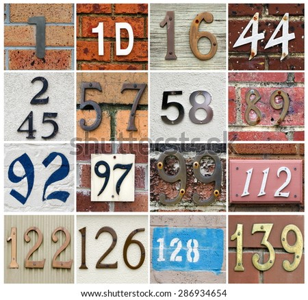 various house numbers collage set