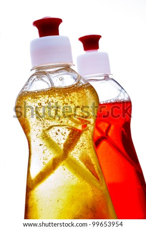 Various household cleaning products isolated on white background