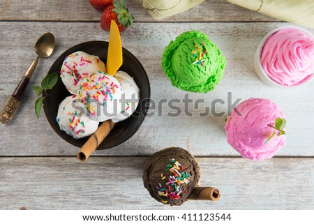 various ice creams - stock photo
