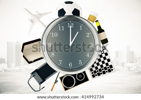Various items such as treadmill, chessboard, coffee, football and airplane around large clock on misty city background. Time management concept. 3D Rendering - stock photo