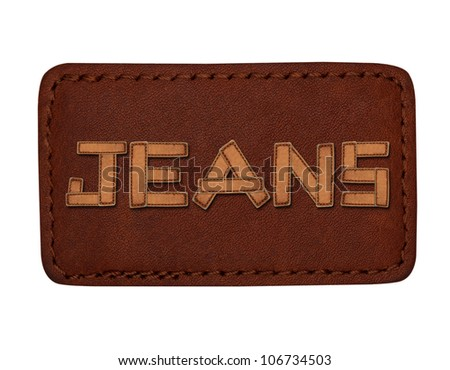 various jeans labels with word jeans made from leather on white background