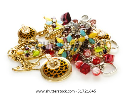 Various jewelery isolated on the white - stock photo