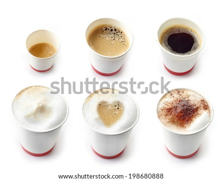 Various kinds of coffees in a paper take away cups isolated on white - stock photo