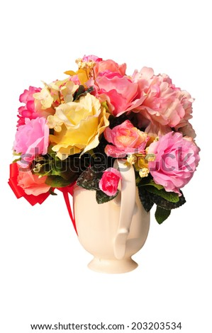 Various kinds of large plastic flower vases. - stock photo